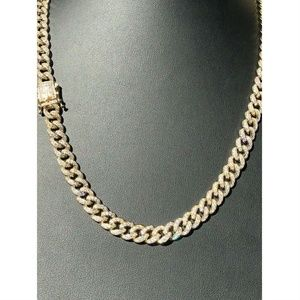 Mens Miami Cuban Link 9mm Chain 14k Gold Over